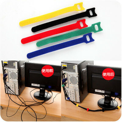10x Desk Tidy Organizer Wire Cord Lead Drop Clips USB Cable Charger Holder Fixer
