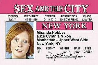 miranda  hobbes SEX IN THE CITY plastic ID card Drivers License Cynthia Nixon