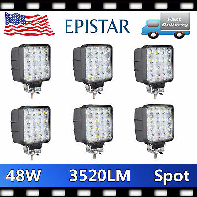6X 48W Led Work Light Spot Beam Fog Lamp Offroad Truck 12V Suv Atv Jeep Drl 4''
