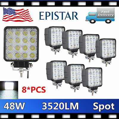 8X 48W LED Work SPOT Light OffRoad 12V24V Truck 4WD Boat SUV JEEP 3520LM Driving
