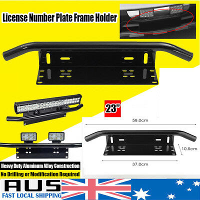 Front Bumper Number Plate Holder Bull Bar License LED Light Bar Mounting Bracket