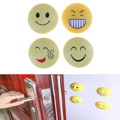 2X Smile Face Wall Anti Collision Door Handle Lock Protection Rubber Shock Mat `