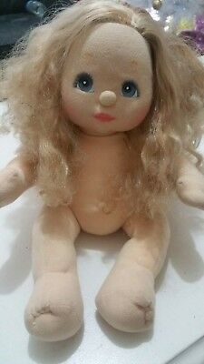 Vintage My Child Doll. Blonde Hair, Pink Cheeks, Blue Eyes. Mattel, 1980s, Baby