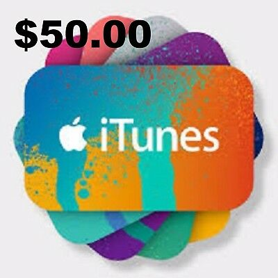 $50 iTunes Gift Card FREE SHIPPING USA only....... NEVER EXPIRES!