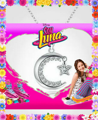 Soy Luna Tv Series Necklace Jewelry Moon & Star Pendant Chain Silver Plated New