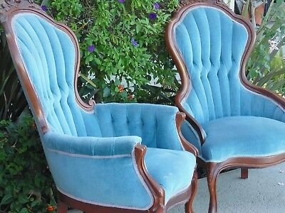 Pair 2 Victorian Parlor Chairs Carved Solid Wood Mahogany Pillow Blue Upholsterd