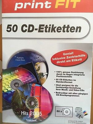 Print FIT 50 CD Etiketten Labels Inkjet / Laser für Musik- und Video CD's