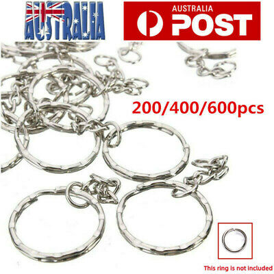 20/100/400pcs Keyring Blanks Silver Tone Key Chains Findings Split Rings Chain