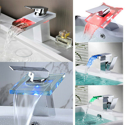 LED RGB Color Changing Bathroom Basin Waterfall Faucet Mixer Taps Chrome Brass