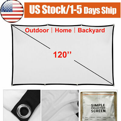 100'' 16:9 HD Portable Projector Screen for Outdoor Projection Movie Camping Bar