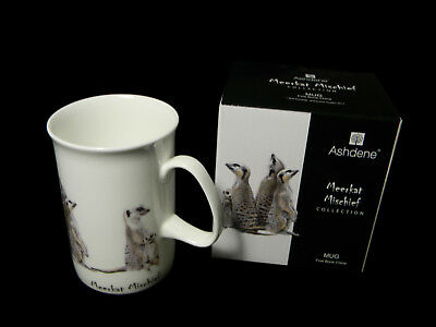 1 x Fine Bone China 7oz Mug Cup Ashdene Meerkat Mischief Family
