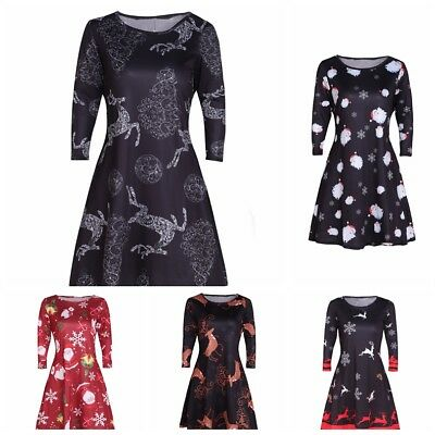 68201de0773d Women Plus Size Long Sleeve Floral Print Crew Neck Slim Casual Party Swing  Dress
