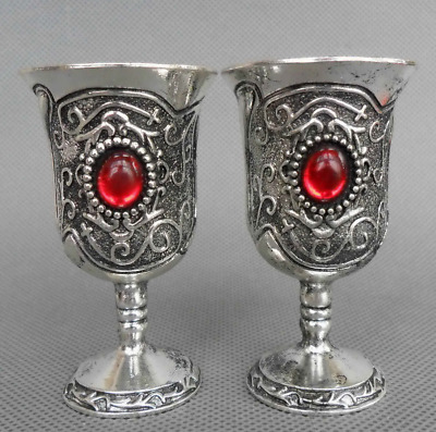 China Handwork Miao Silver Inlay gules bead Carve Flower Wine Cups