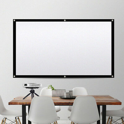 120inch Projector Projection Screen 16:9 Movie Theater Matte Manual Pull Down US