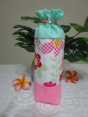 Insulated baby bottle holder-Butterflies & flowers-Fits all baby bottle sizes.