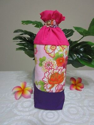 Insulated baby bottle holder-Oriental flowers-Pink-Fits all baby bottle sizes.