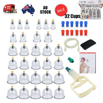 Vacuum Cupping Suction Massager Kit Massage Acupuncture Pain Relief 32 Cups Set