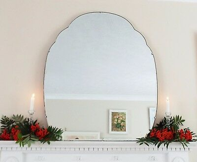 Art Deco Mirror, Cloud Shaped Feature Wall Overmantle Antique Mirror