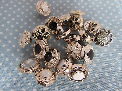 13mm Rhinestone Rose Gold and Gem Centred Shank Buttons in Packs of 2, 5 or 10