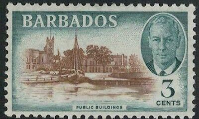 Lot 4503 - Barbados –  1950 3c brown and green King George VI mint hinged stamp