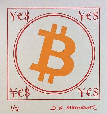 """""""BIT COIN ¥€$"""" Signed 1/7 Limited Edition Giclee Pigment Print 2017 Cryptoart a"""
