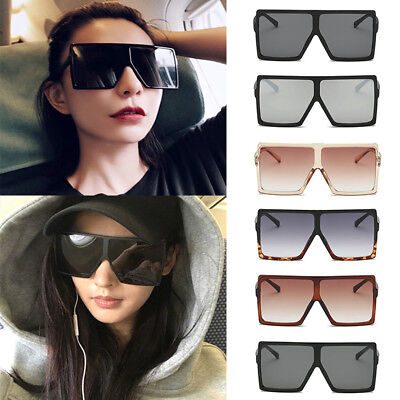 Flat Top Brow Glossy frame Square Rectangle lens Sunglasses Mens Women Oversized