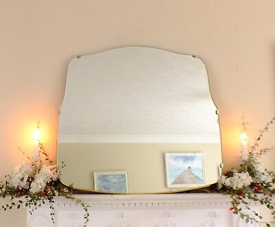 Art Deco Mirror, Frameless Feature Wall Shaped Overmantle Antique Mirror M367