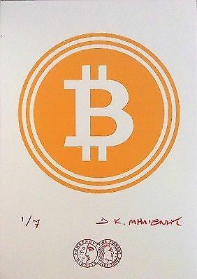 """""""BIT COIN"""" Signed 1/7 Limited Edition Giclee Pigment Print 2017 Cryptoart g"""