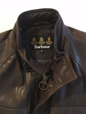 Barbour Brown Leather Sapper Motorcycle Jacket Men's Medium But Fits Like Large