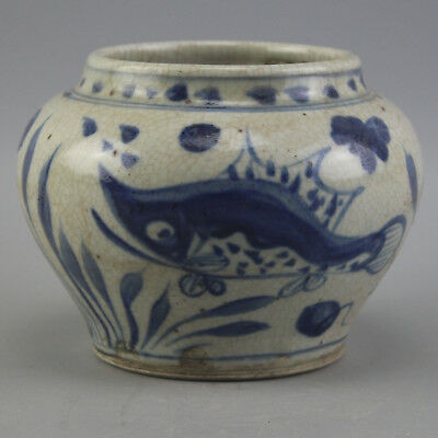 Chinese old hand-carved porcelain Blue & white fish grass pattern pot