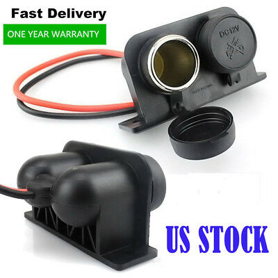 Waterproof 12V Outlet Power Dual Socket Car Motorcycle Cigarette Lighter US Plug