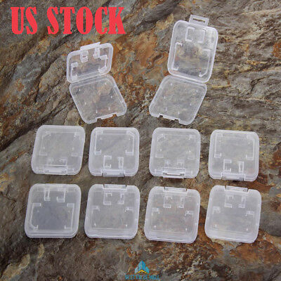 10x Plastic Transparent Standard SD SDHC Memory Card Case Holder Box Storage