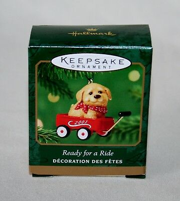 "Hallmark 2001 ""ready For A Ride"" Dog In Wagon Miniature Keepsake Ornament (Nib)"