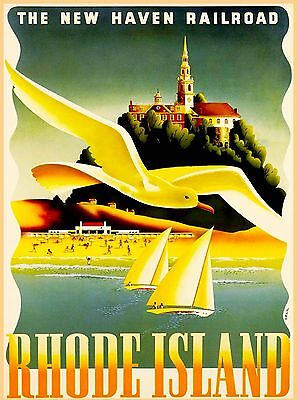 Rhode Island New Haven Railroad United States Travel Advertisement Poster