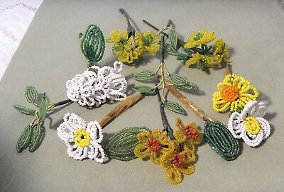 Vtg French/German/Czech Handmade Clear & Solid Glass Seed Beaded Flower/Leaves