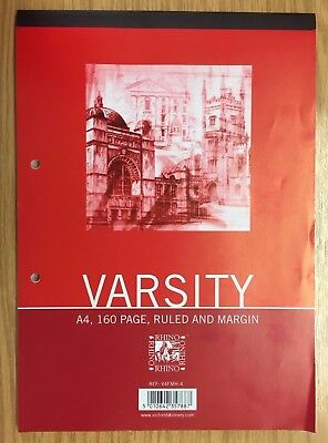 RHINO STATIONARY Varsity A4 160 Page 8 mm Ruled and Margin Refill Pad NEW