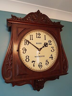 """A very impressive antique wall clock with fusee movement and a 15"""" dial."""