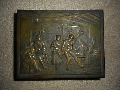 """Ant. Early 1900's Bronze, Wood Lined Box, Bronce, Denmark 5.5"""" X 4.25"""" X 1 3/8"""""""