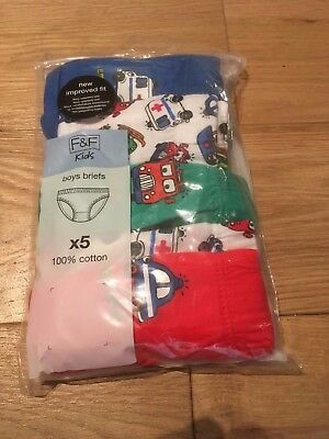 F&F Tesco 5 Pack Boys Briefs Under Pants 18-24 Months RRP £8 BNWT 2 Designs