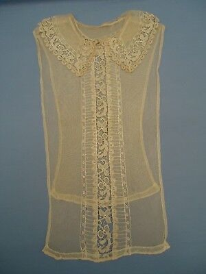 True Antique Victorian tulle & bobbin lace collar bodice overlay jabot AS IS