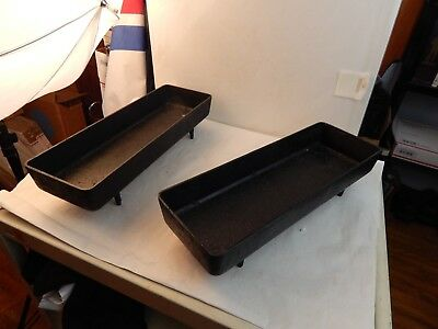 PAIR of Antique Large FOOTED CAST IRON BREAD PANS fireplace cooking