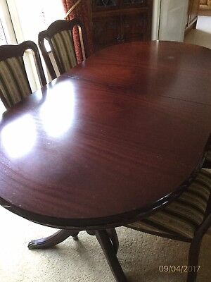 Mahogany Dining Table Extendable Plus Four Chairs And Two Carver Chairs