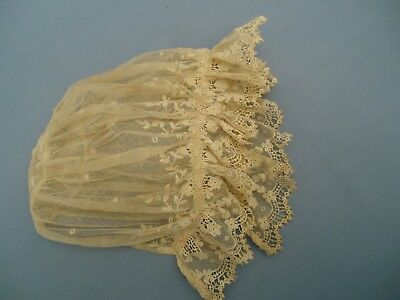 True Antique Victorian Tulle Lace w Cutwork Baby Bonnet AS IS missing ties