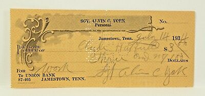 Sgt Alvin C York Signed Autographed Cancelled 1936 Check WWI Medal of Honor Army