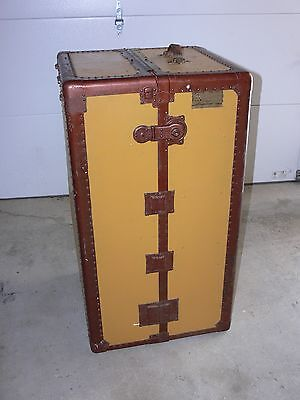 Vtg Antique Early 1900's Hartmann Wardrobe Steamer Trunk Travel Chest Cushion