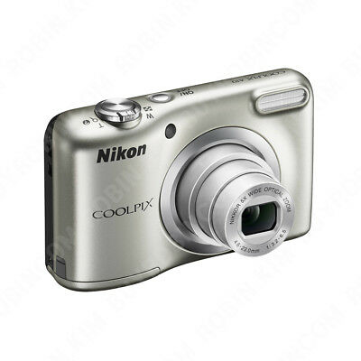 Nikon Coolpix A10 16.1Mp Silver 5X Wide Optical Zoom Compact Camera Aa Battery
