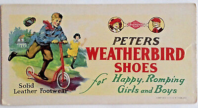 Vintage Peters Weatherbird Shoes  Advertising Blotter, 1930's, Boy on Scooter