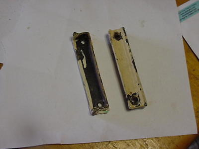 "2 Vintage Antique Cast Iron Rim Lock Striker Plates 4-1/4"" Door Keeper Latch Lot"