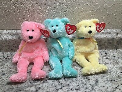 Ty Beanie Baby Sherbet Bears (Pink, Yellow And Aqua) Set Of 3