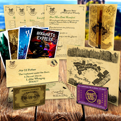 Harry Potter PERSONALISED Hogwarts Acceptance Letter + Maps, Tickets + MORE